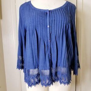 AMERICAN EAGLE L blue peasant boho crochet…